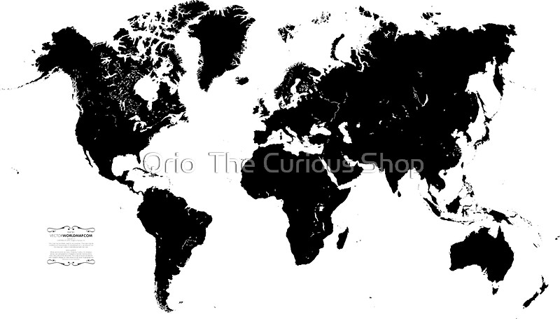 Black white world map stickers by qrio redbubble black white world map by qrio gumiabroncs Choice Image