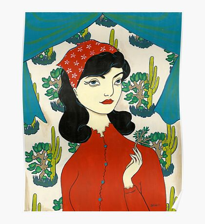 Girl with Cacti Poster