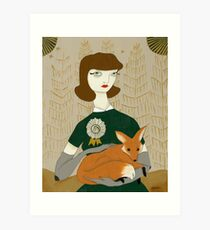 Woman with Fox Art Print
