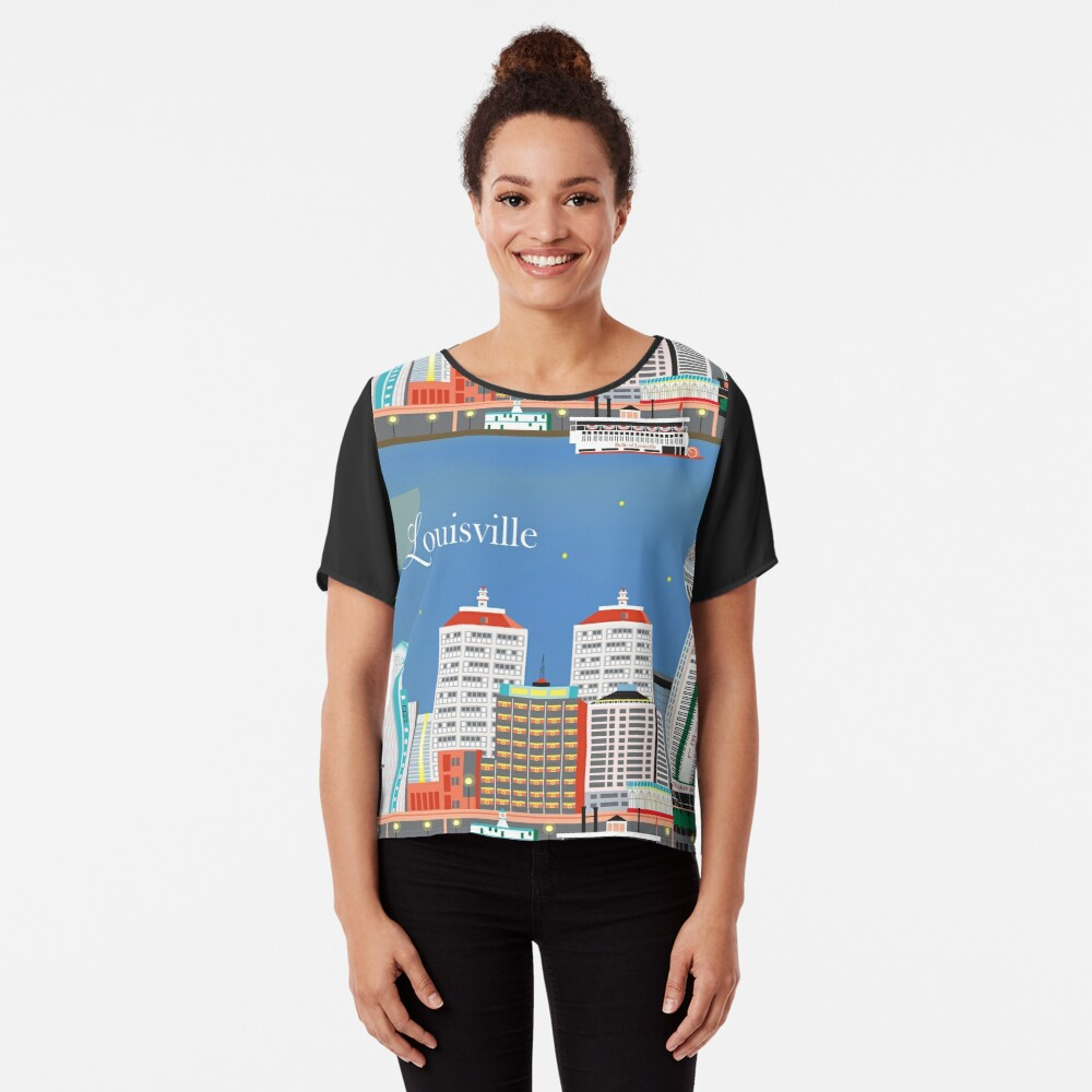 Louisville, Kentucky - Skyline-Illustration durch lose Blumenblätter Chiffon Top
