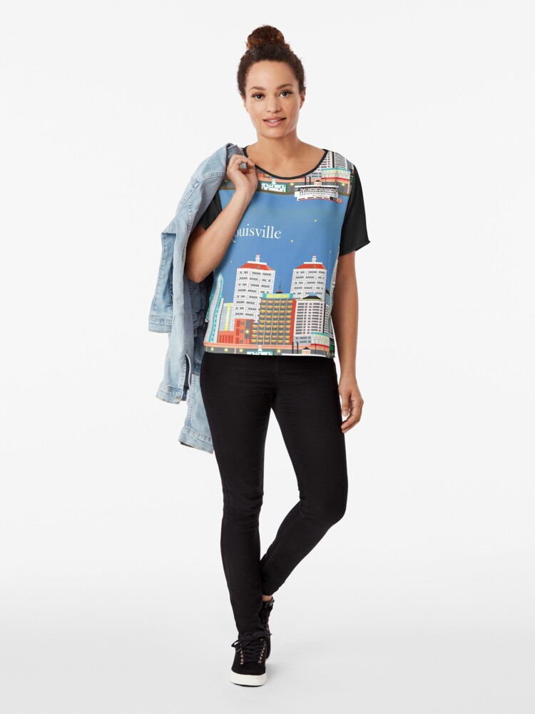 Alternative Ansicht von Louisville, Kentucky - Skyline-Illustration durch lose Blumenblätter Chiffon Top