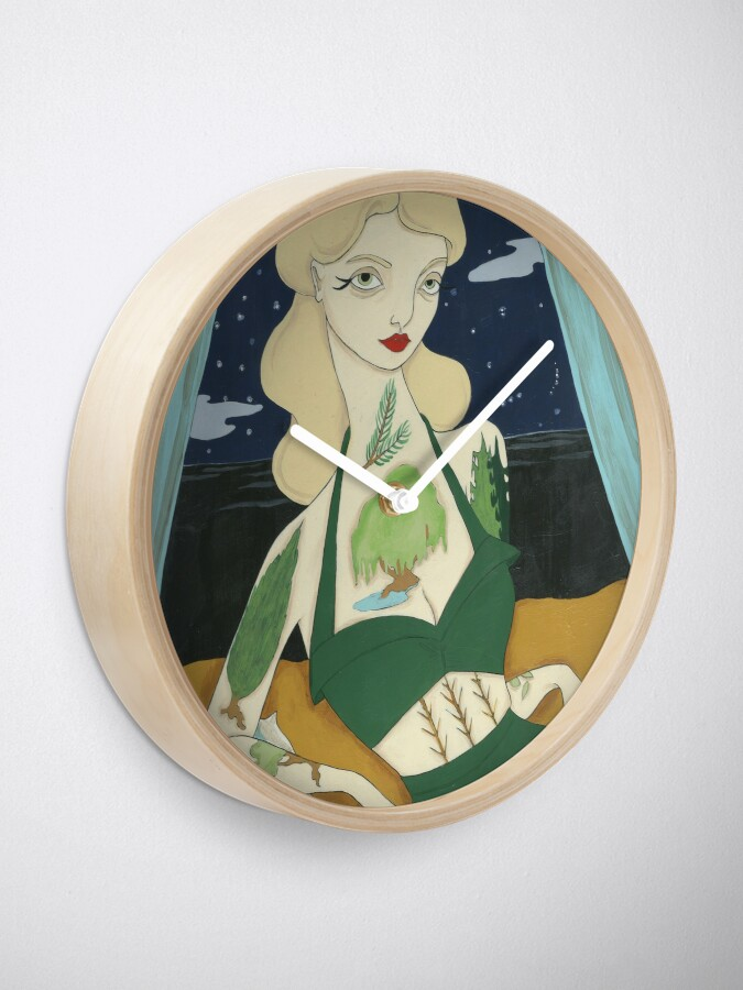 Alternate view of Tattooed Lady with Trees Clock