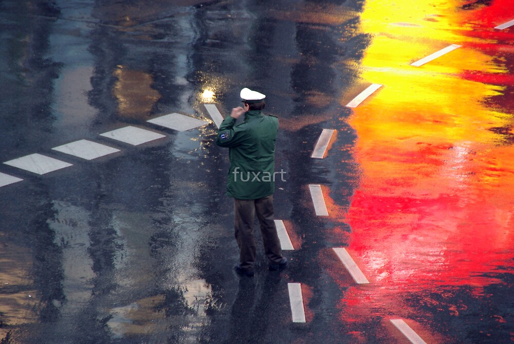 Policeman in the rain  by fuxart