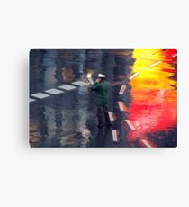 Policeman in the rain  Canvas Print