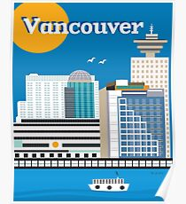 Vancouver, British Columbia, Canada - Vertical Retro Travel Style Skyline by Loose Petals Poster
