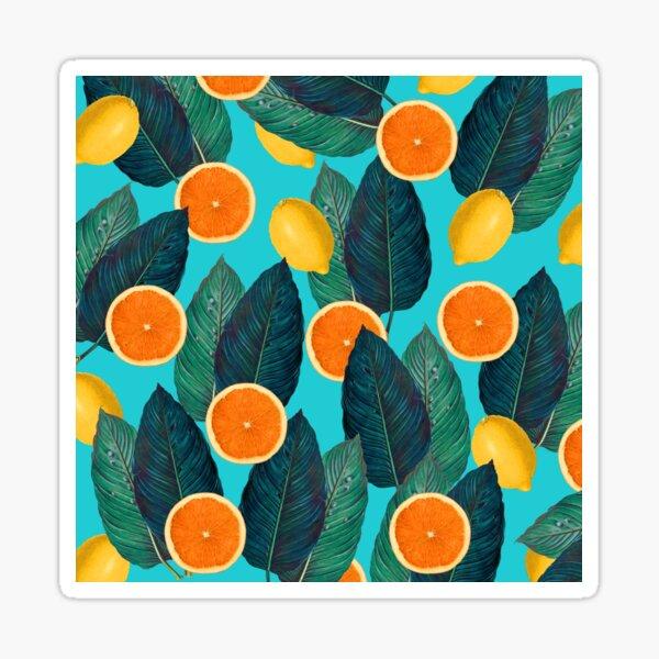 Lemons And Oranges On Teal Sticker