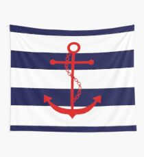 Red Anchor on Blue Stripes Wall Tapestry