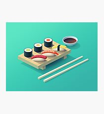 Sushi Isometric (Teal) Photographic Print