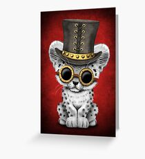 Steampunk Snow Leopard Cub on Red Greeting Card