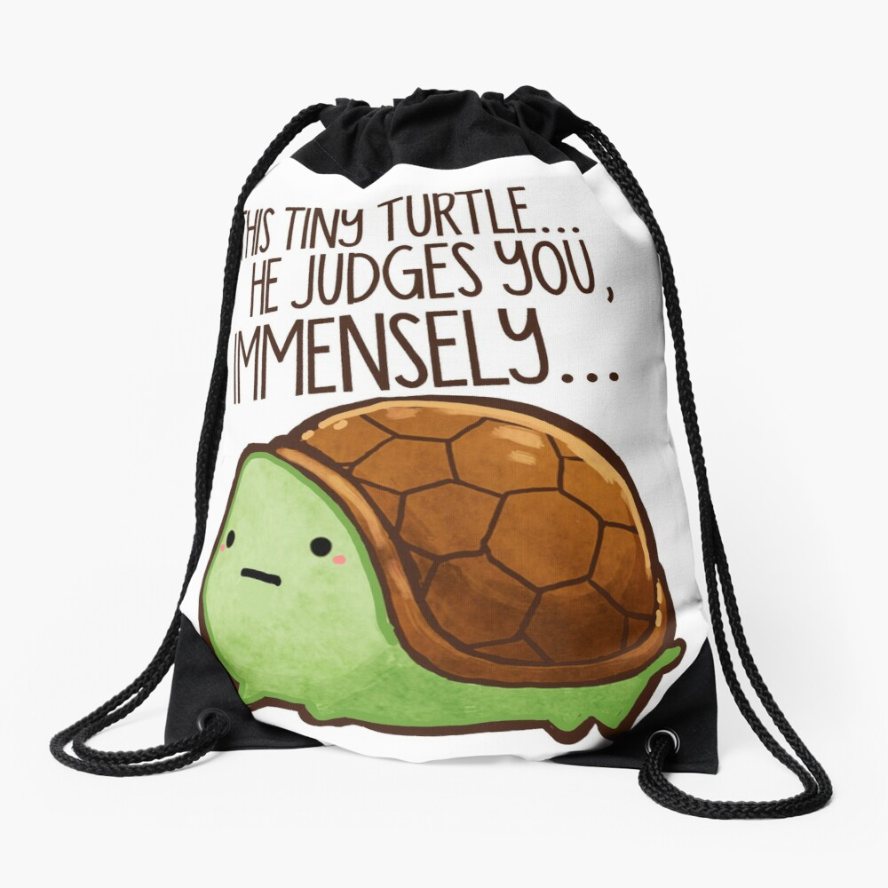 This turtle.. he judges you. Drawstring Bag