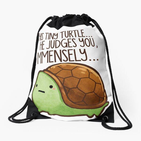 This turtle.. he judges you. Drawstring Bag