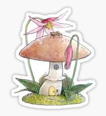 Mushroom fairy house with fawn lily Sticker