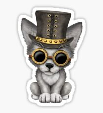 Steampunk Baby Wolf Cub on Red Sticker