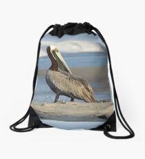 Oceanside Portrait of a Pelican Drawstring Bag