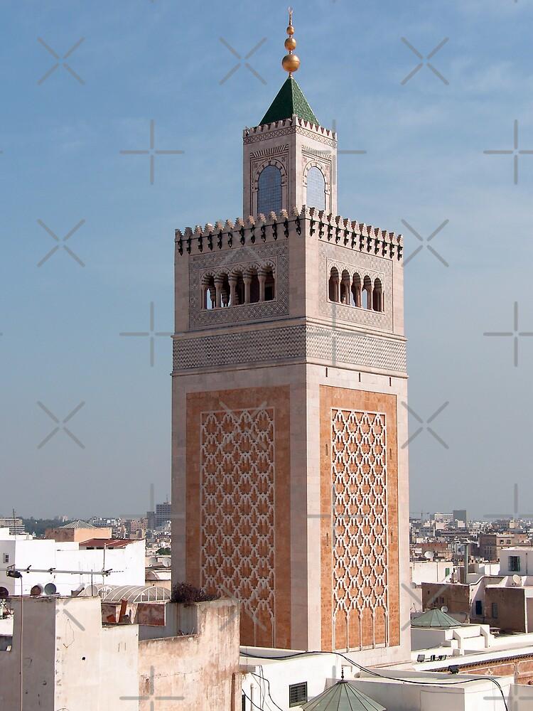 Minaret of the Mosqée El-Zitouna by Tom Gomez
