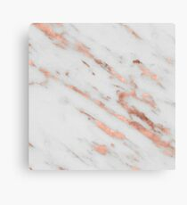 Marble - Rose Gold Marble with White Gold Foil Pattern Canvas Print