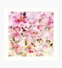 Rosa Blumenmuster des Pastell-Aquarells der Weinlese Kunstdruck