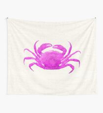 Nautical Pink Crab Linen Wall Tapestry