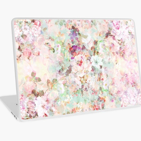 Pink watercolor vintage flowers pattern Laptop Skin