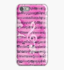 Vintage pink watercolor classical clef music sheet iPhone Case/Skin