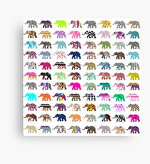 Whimsical Elephant Floral Aztec Chevron Patterns Canvas Print