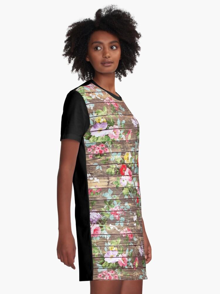 Alternative Ansicht von Blumen-rustikales braunes Holz der eleganten rosa Rosen T-Shirt Kleid