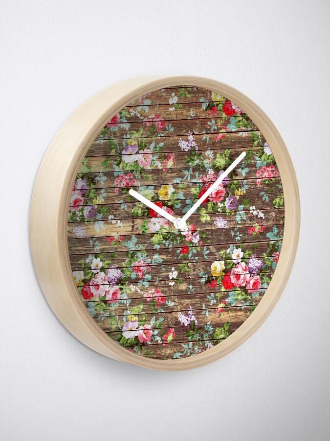 Alternative Ansicht von Blumen-rustikales braunes Holz der eleganten rosa Rosen Uhr