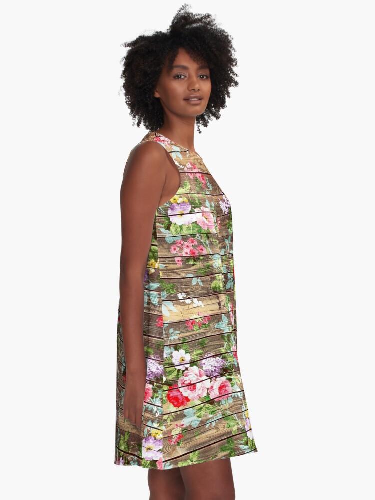 Alternative Ansicht von Blumen-rustikales braunes Holz der eleganten rosa Rosen A-Linien Kleid