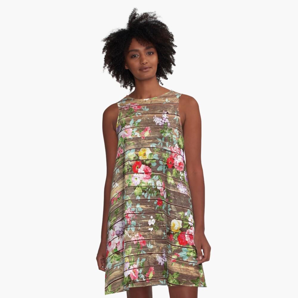Blumen-rustikales braunes Holz der eleganten rosa Rosen A-Linien Kleid