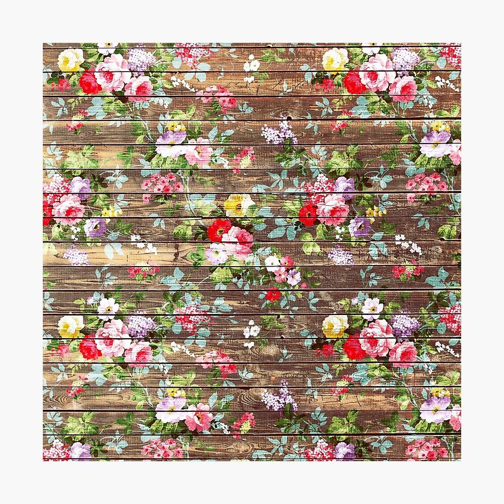 Blumen-rustikales braunes Holz der eleganten rosa Rosen Fotodruck