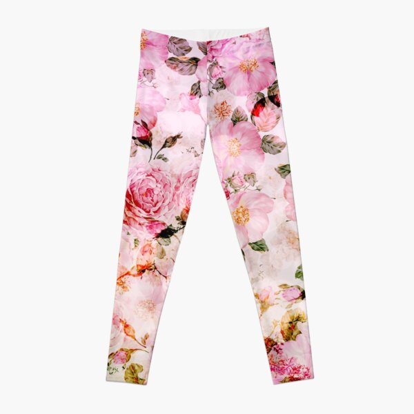 Chic girly pink watercolor vintage floral pattern Leggings