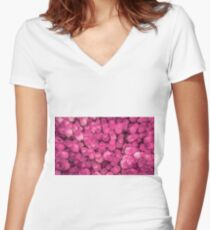Dozens of Miniature Pink Roses Women's Fitted V-Neck T-Shirt