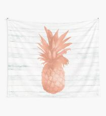 Rose Gold Pineapple on Wood Nautical Decor Wall Tapestry