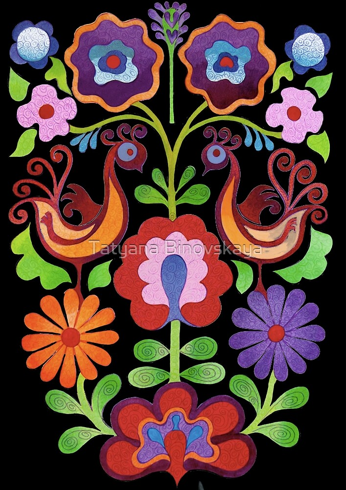 Ukrainian folk Flowers by Tatyana Binovskaya