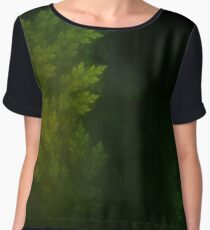 Beautiful Fractal Pines in the Misty Spring Night Women's Chiffon Top