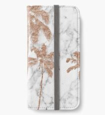 Rose Gold Marmor Palmen iPhone Flip-Case/Hülle/Skin
