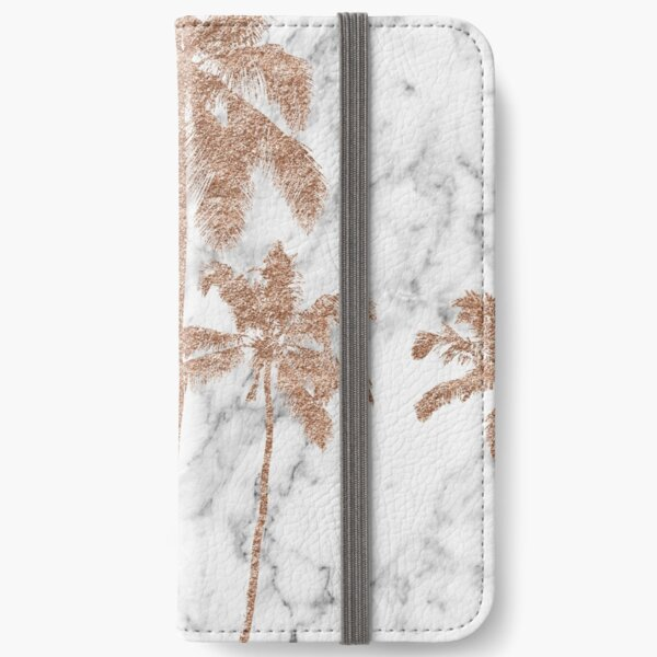 Rose gold marble palms iPhone Wallet