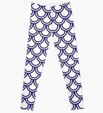 Girly Modern Blue White Retro Scallop Pattern Leggings