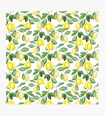 Modern green yellow watercolor lemon summer fruit Photographic Print