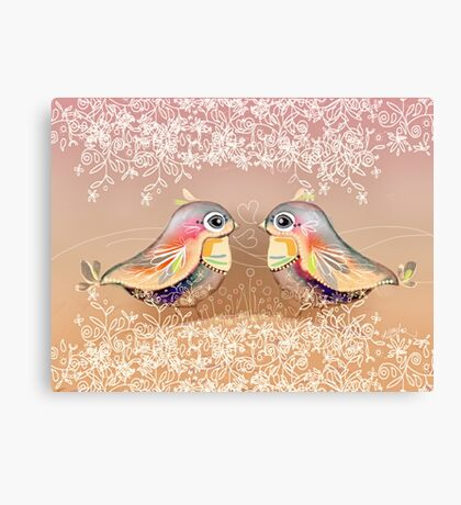 Exotic Peach Lovebirds Canvas Print