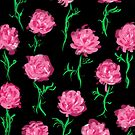 Peony Scatter on Black by inkandstardust