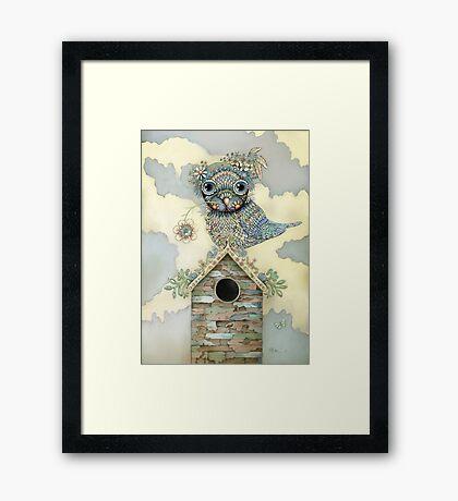 Blue Owl Birdhouse II Framed Print