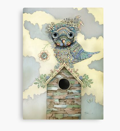Blue Owl Birdhouse II Canvas Print