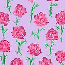 Peony Scatter on Lilac by inkandstardust