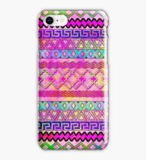 Modern girly pink colorful watercolor aztec iPhone Case/Skin