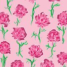 Peony Scatter on Pink by inkandstardust