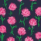 Peony Scatter on Navy by inkandstardust