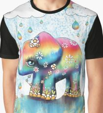 Little Rainbow Elephant Graphic T-Shirt
