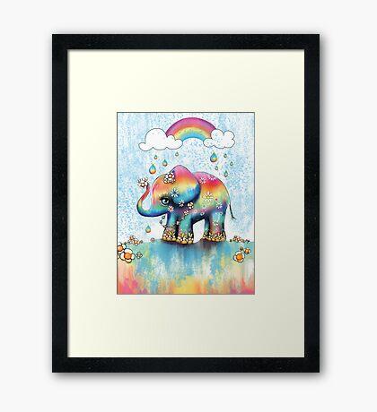 Little Rainbow Elephant Framed Print