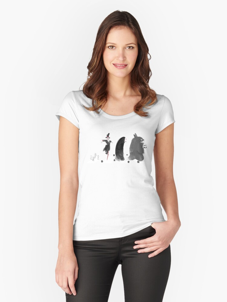 Ghibli Road Women's Fitted Scoop T-Shirt Front